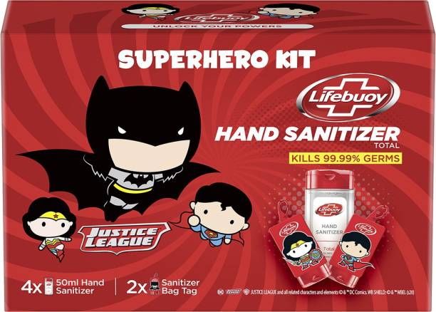 LIFEBUOY  Super Hero Kit | Anti Bacterial Alcohol Based Sanitizer | 4X50ml + 2 Bag Tags (Superman & Wonder Woman) Hand Sanitizer Box