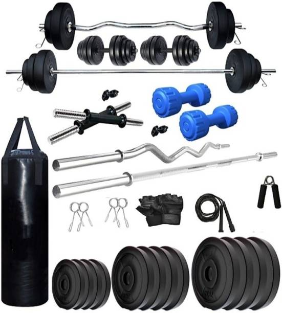 RIO PORT 50 kg RUBBER HOME GYM COMBO 50 Kg of Weight ( 2.5 Kg x 4 = 10 Kg + 5 Kg x 4 = 20Kg + 10 Kg x 2 = 20Kg ), 1 x 5 feet plain rod + 1 x 3 feet curl rod + 2 x 14 inches dumbbell rods, gym gloves + 1 Gym Backpack + 1 Gym Belt + 1 Skipping Rope + 1 Hand Gripper + 4 Locks and clippers comes with the rod Home Gym Combo