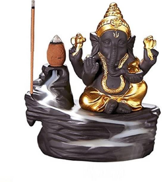 SAPIENCE Backflow Incense Burner Lord Ganesha Emblem Auspicious and Success-blue Polyresin Incense Holder Set