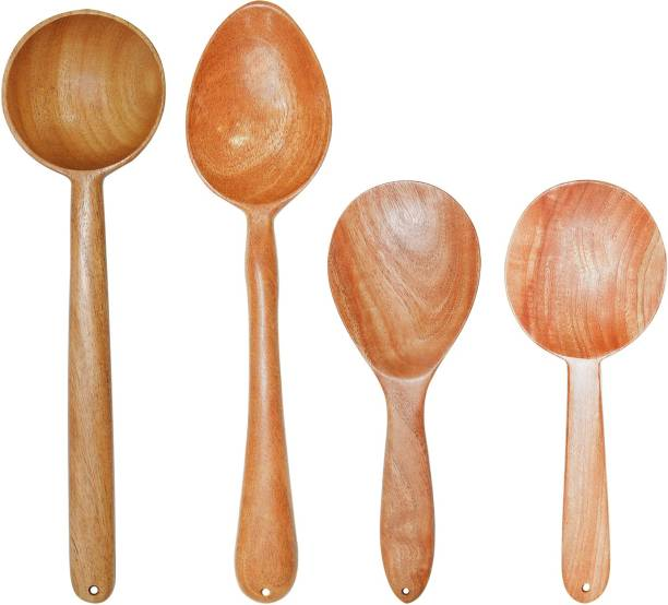 TORA CREATION TC Pack of 4-25 Neem Wood Spatula for Cooking and Serving (Deep, Rice, Stirrer Spoons) Wooden Spatula for non stick (Set of 4) Brown Kitchen Tool Set