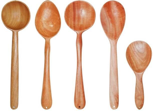 TORA CREATION Neem Wood Cooking Essentials Set of 5 Cooking/Serving Brown Kitchen Tool Set