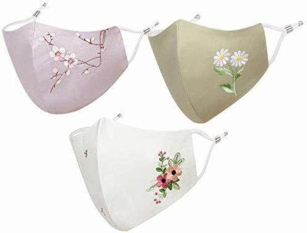 MASQ by Q-One 3 Ply Cloth Face Mask for Women with Ear Adjusters (Mask Bag included) SpecialBlossomCombo-03 Reusable, Washable Cloth Mask