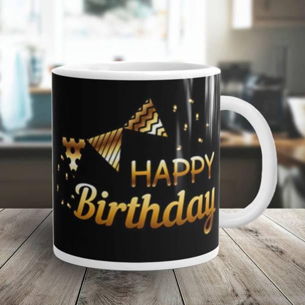 Flipkart SmartBuy Happy Birthday Golden Black Ribbons Ceramic Coffee Mug