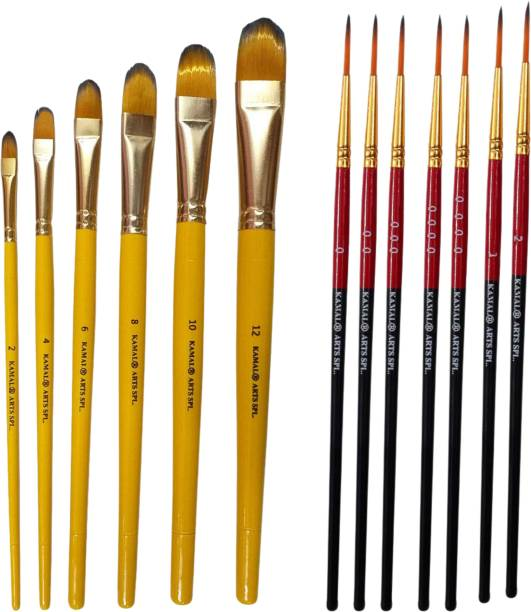 KAMAL Combo of Artist Quality Detail and Script Liner Set of 7 in Synthetic Taklon AND Filbert Artist Quality Painting Brush with Short Length Bristle Set of 7 in Synthetic