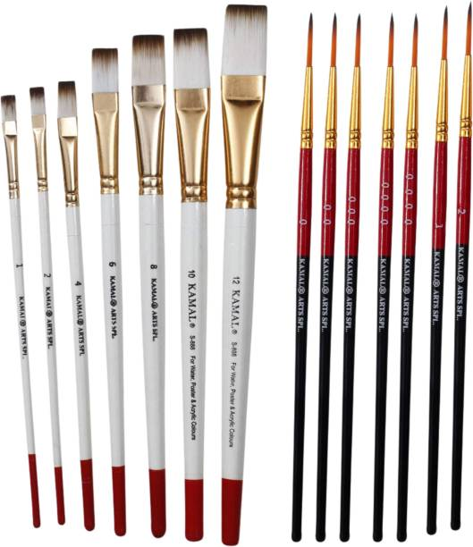 KAMAL Combo of Artist Quality Detail and Script Liner Set of 7 in Synthetic Taklon AND Flat Artist Quality Painting Brush White/Set of 7 in Synthetic Taklon