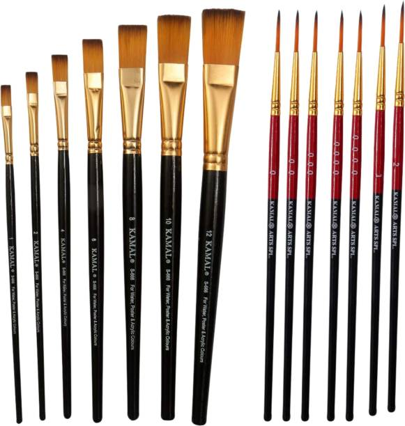 KAMAL Combo of Artist Quality Detail and Script Liner Set of 7 in Synthetic Taklon AND Flat Artist Quality Painting Brush /Black Set of 7 in Synthetic