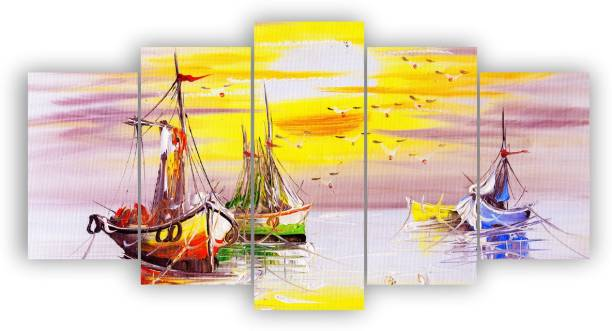 Asiwal Set Of 5' Beautiful Boats and Sunset Modern Wall Art Painting ( 17 Inch X 30 Inch) Digital Reprint 17 inch x 30 inch Painting