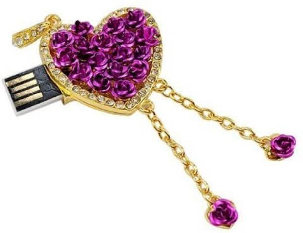 microware 16GB Golden Purple Metal Heart Shape Designer Fancy Pendrive 16 GB Pen Drive