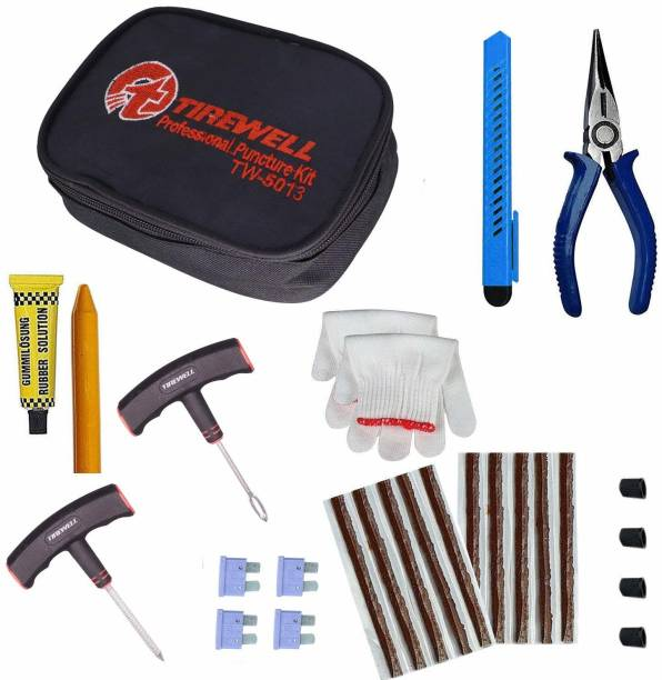 TIREWELL TW-5013 10 in 1 Universal Tubeless Tire Punher Kit with Storage Bag, Emergency Flat Tire Repair Patch Tool Bag for Car, Bike, SUV Tubeless Tyre Puncture Repair Kit
