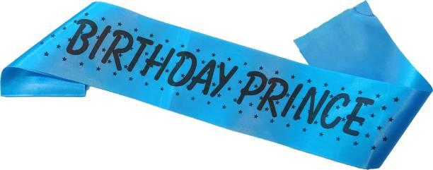 RTB Enterprises Birthday Prince Blue Sash for Boys Birthday Party, Satin Silk Blue Sash for Birthday Prince