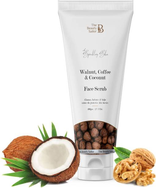 The Beauty Sailor Walnut, Coffee & Coconut Face Scrub Helps Cleanse, Hydrates & Restore Protective Skin Barrier Scrub