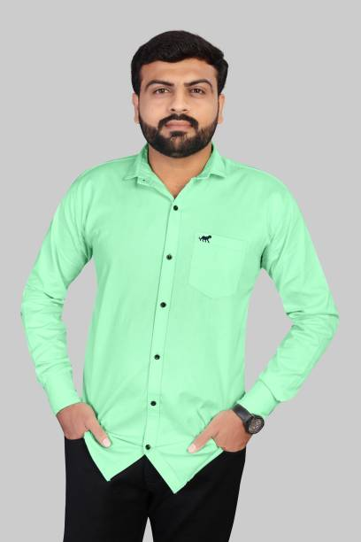 KARNISH Men Self Design, Solid Formal Light Green Shirt