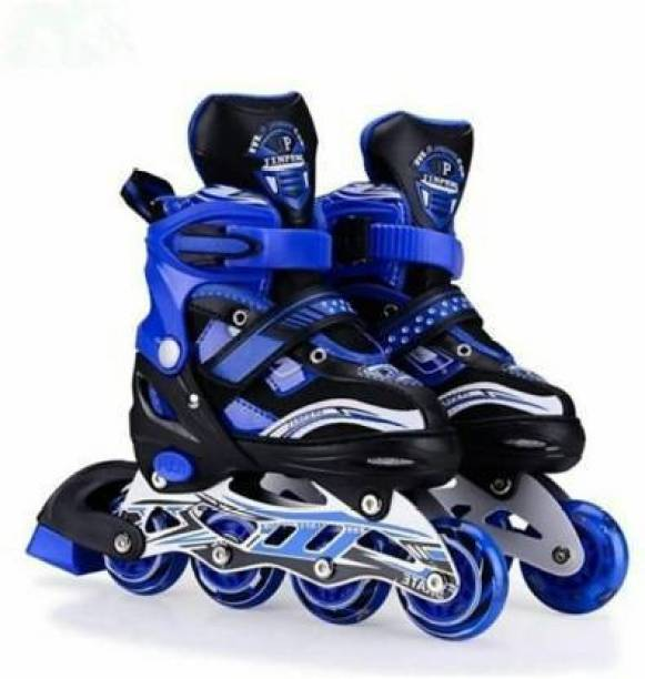 J K INTERNATIONAL High quality Skating in-line Shoe have different size and with PU LED wheel In-line Skates - (Blue) In-line Skates - Size 6-9 UK