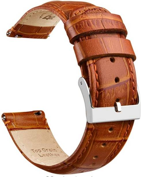 gettechgo Premium Leather 20mm Strap Band Compatible with Samsung Galaxy Watch 3 41mm, Galaxy 42mm, Galaxy Active 40mm, Active 2 (40-44mm) / AmazeFit BIP/BIP Lite/AmazeFit GTS, Amazefit GTR (42mm) / VivoActive 3 / RealMe Classic, Fashion & Smartwatches with 20mm Lugs (Light Brown) Smart Watch Strap