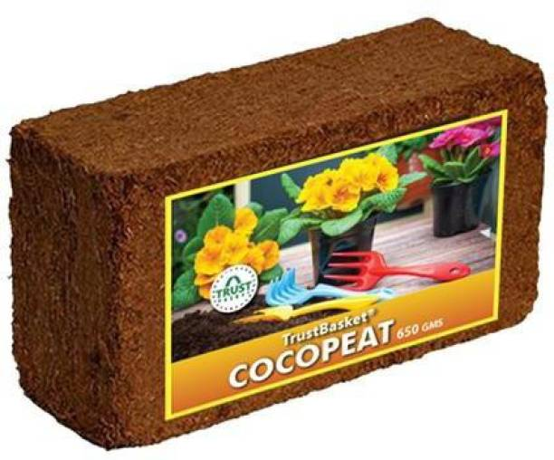 TrustBasket Coco Peat Block (650 grams)-Expands To 8 Litres Of Coco Peat Powder Manure