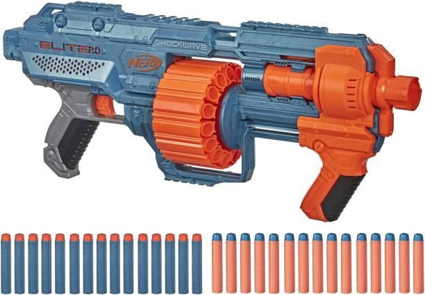 Nerf Elite 2.0 Shockwave RD-15 Blaster, 30 Darts, 15-Dart Rotating Drum, Pump-Action Guns & Darts
