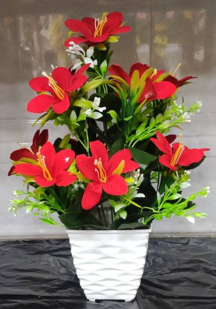 BK Mart Beautiful Red Lilly Flower bunch For home Shop Office Decor Multicolor Lily Artificial Flower  with Pot