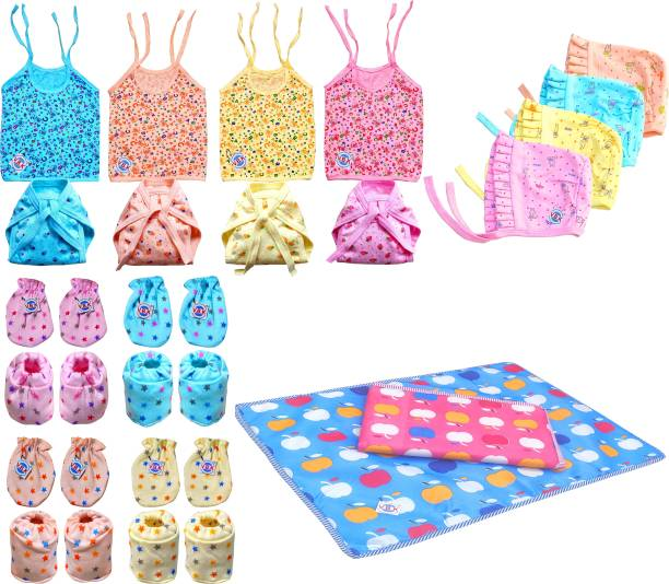 V.B.K Baby Cloth Set Combo Pack Of Jhabla (4 Pcs), Nappy (Langot) (Cloth Diaper)(4 Pcs), Hand Mittens (4 Pair), Leg Booties (4 Pair), Cap (4 Pcs) and Diaper Changing/Bed Protector Waterproof Sheet (2 Pcs), Hosiery Soft Cloth Fabric, 0 to 6 Months