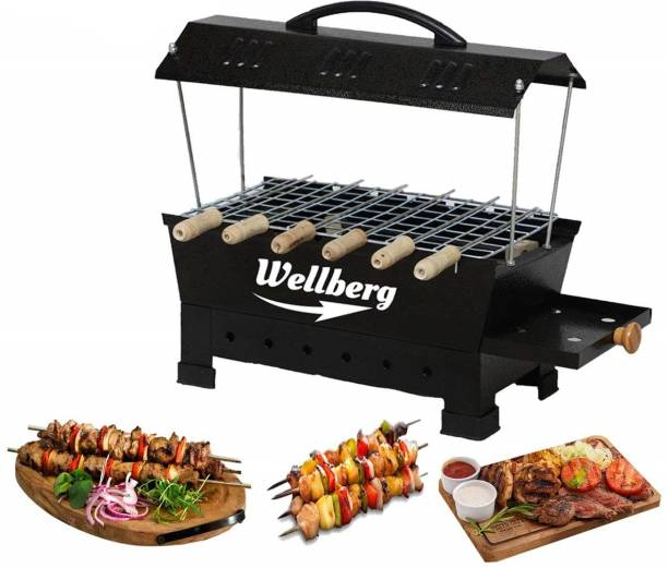 WELLBERG Electic and Non Electric Charcoal Barbeque Grill & Tandoor (Black, Iron) Multipurpose Big Electric Grill