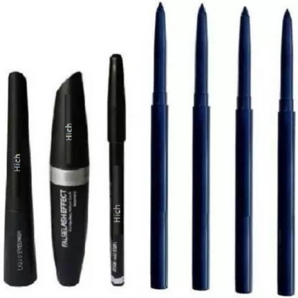 Hich Eyebrow Pencil Black & Liquid EyeLiner & Mascara & kajal 4 pcs