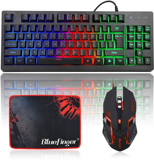 Bluefinger 87 Keys Gaming USB Wired Rainbow Keyboard and Backlit Mouse Combo Set for Laptop PC Computer Game and Work Combo Set