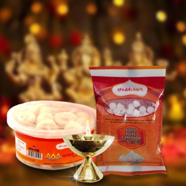 Shubhkart Pyali, Camphor And Vanaspati Ghee Wicks - Combo Brass (Pack of 3) Table Diya Set