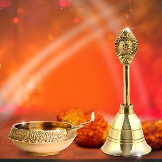 Shubhkart Kuber Deep And Naag Ghanti - Combo Brass (Pack of 2) Table Diya Set
