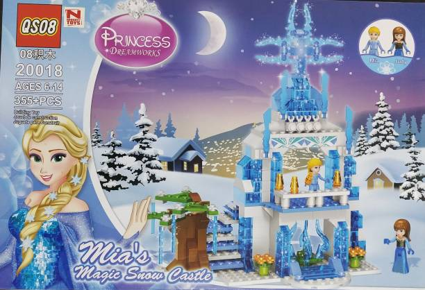 A AND A CREATIONS A & A Creations Frozen Winter Princess Doll Castle, Mia,s Castle Doll Set 355 Pieces