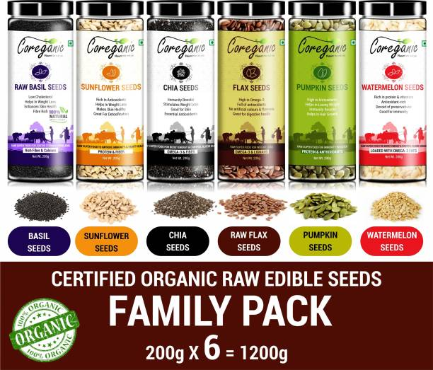 Coreganic Certified Organic Raw Edible Seeds Family Value Pack (Flax,Chia,Pumpkin,Sunflower,Basil & Watermelon)