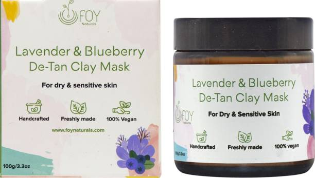foynaturals Lavender & Blueberry Clay Mask | Hand Crafted Face Mask for De-Tan, Skin Brightening - 75gm | Women & Men | Improve Skin Tone | Made with Blueberry, Kaolin Clay, Turmeric, Sandalwood & Lavender