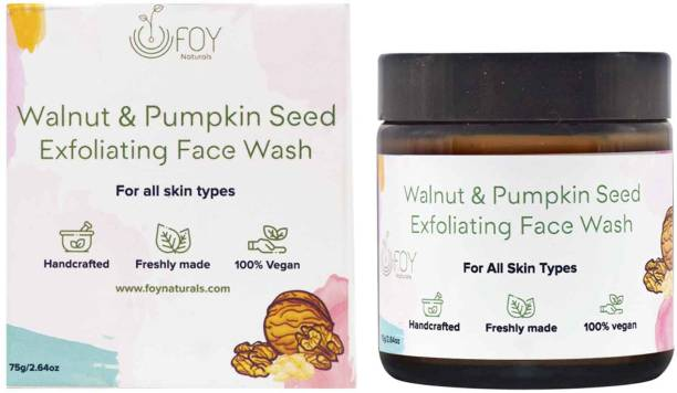 foynaturals Walnut and Pumpkin Seed Face wash| Handcrafted for Glowing Skin, Gentle exfoliation - 75gm | Women & Men | Purifying & Pore Cleansing | Made with Chamomile, Walnut shell & Pumpkin seeds Face Wash