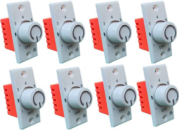 Hiru SWITCH 7 STEP - 8 PCS Fancy FAN REGULATOR for Home & Office Step-Type Button Regulator