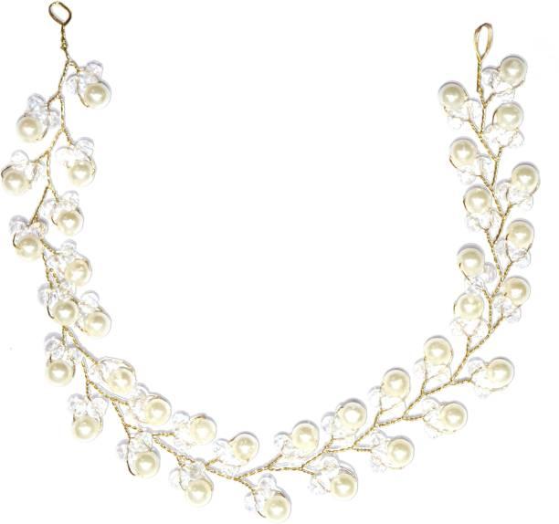 VAGHBHATT 1pc Golden Fashion Hand Made Headdress Pearl Hair Pin Hair Chain