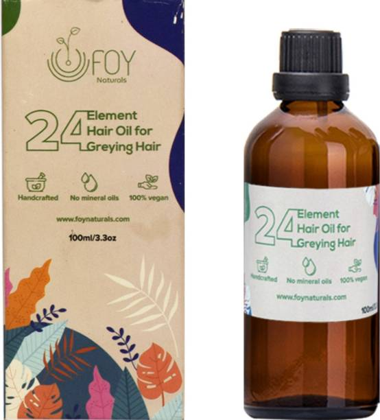 foynaturals 24 Element Anti Greying Hair Oil - 100ml | Women & Men | For All Hair Types with Castor, Black Seed, Pumpkin seed, Vitamin E & Coffee infused coconut Oil | No Mineral Oils, No Parabens, No Silicones Hair Oil