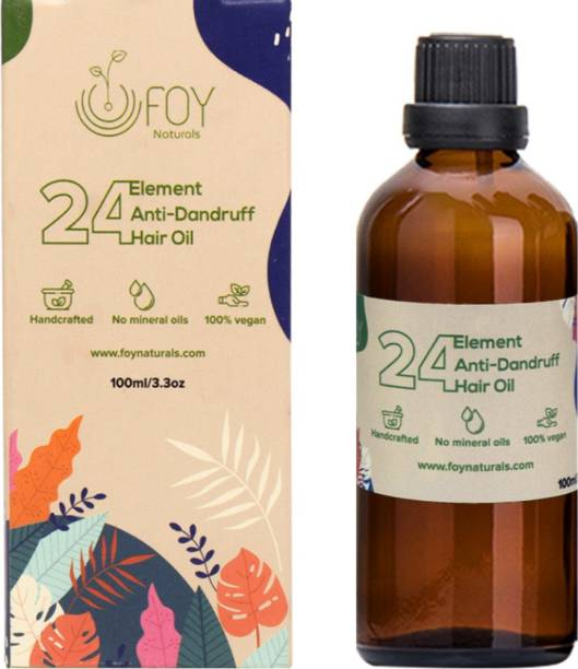 foynaturals 24 Element Anti Dandruff Hair Oil - 100ml | Women & Men | For All Hair Types with Castor, Grapeseed, Green tea infused Coconut Oil, Vitamin E & TeaTree Essential Oil| No Mineral Oils, No Parabens, No Silicones Hair Oil