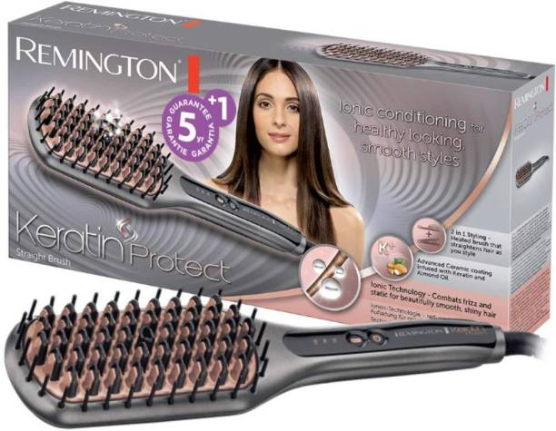 REMINGTON Keratin Protect Sleek & Smooth Heated Straightening Brush -CB7480 (Gray) Hair Straightener Brush