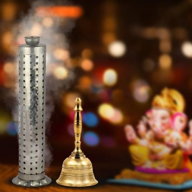 Shubhkart Steel, Brass Incense Holder Set