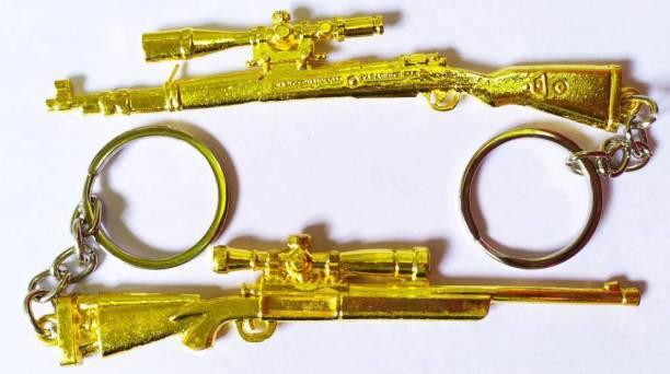 MASHKI PUBG Key Chain GOLD KAR98 & M24 (pack of 2) Player un-known Battle Ground Level Key Chain