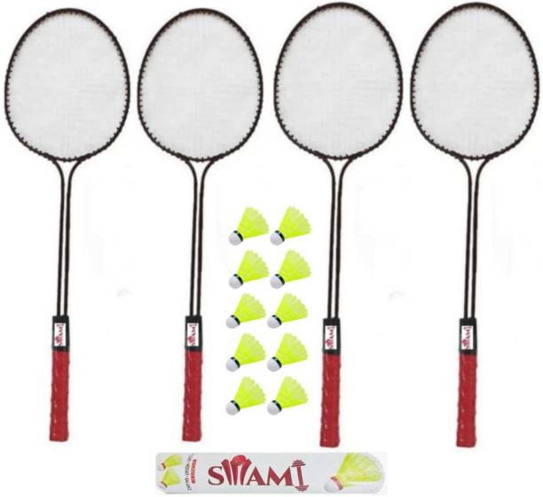 Swami Double Shaft Badminton Racket Set Of 4 Piece With 10 Piece Plastic Shuttle Badminton Kit