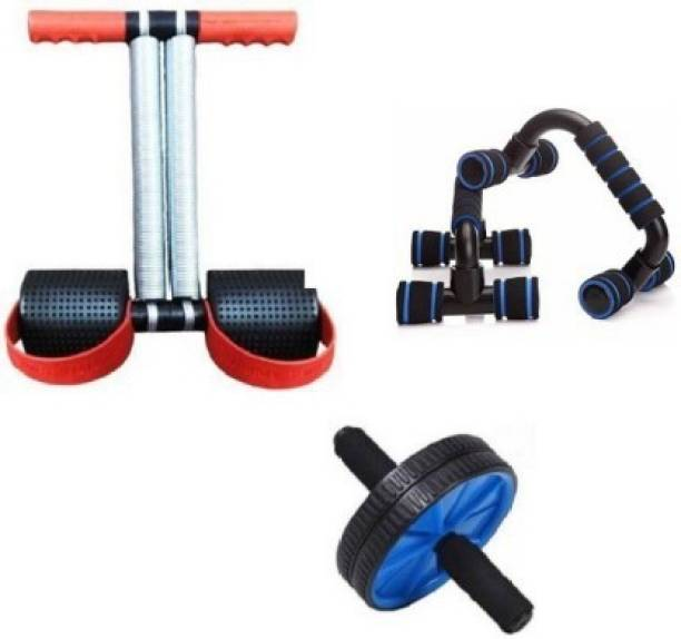 GJSHOP Combo of Tummy Trimmer, Plastic Pushup Bar, Ab Wheel for Stretching Toning Exercising Workout itness Equipment at Home Gym Kit Home Gym Kit
