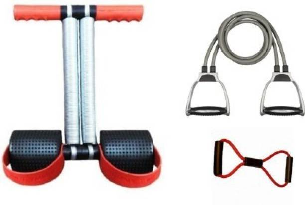 GJSHOP Combo of Tummy Trimmer, Toning tube (Grey), Figure Tube for Stretching Toning Exercising Workout itness Equipment at Home Gym Kit Home Gym Kit