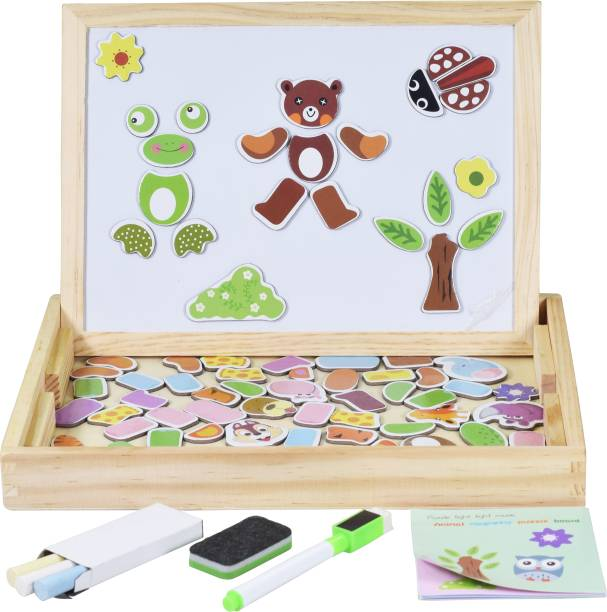 Wishkey Wooden Double Sided Cartoon Figure White Magnetic & Black Board Puzzle, Creative Multifunctional Educational Game For Kids
