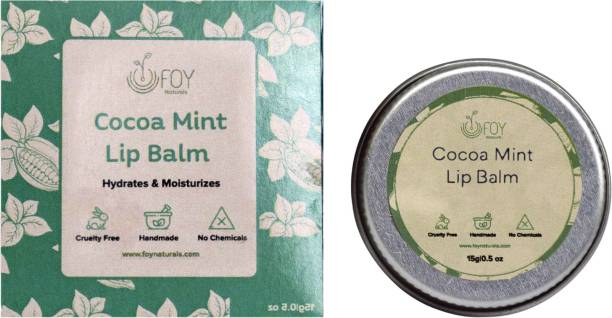 foynaturals Coco Mint Lip Balm for Dry & Chapped Lips - 15gm| Moisturises & Lightens Dark Lips| Women & Men | Vegan Lip Care with Natural SPF | Made with Almond oil, vitamin E, Shea Butter & Tea Tree Oil Coco mint