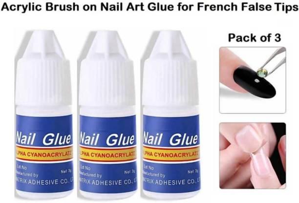 Plethora 3 Pcs Nail Glue For Artificial Nail Waterproof Nail Adhesive Bottle Acrylic nails Professional Nail Art Gum Fake Nails Extension