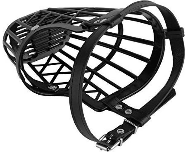 Abros EXTRA LARGE High Quality Plastic Dogs Muzzle Basket Design, Anti-biting, Adjusting Straps, Mask For Dog/Puppy, (Black) Extra Large Strips Dog Muzzle