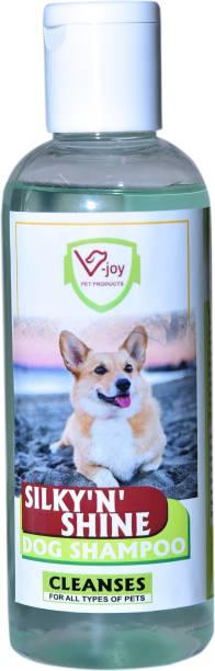 VJOY Liquid Silky & Shine Shampoo for Dogs Makes Coat Soft and Shiny(200 ML) Anti-dandruff, Flea and Tick, Anti-microbial, Anti-itching Pleasent Dog Shampoo