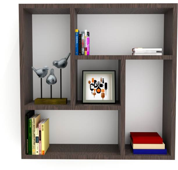 Furnifry Wooden Wall Mounted Floating Shelf/Decorative Wall Shelves/Space Saving & Durable Book Shelf for Home/Living Room & Office/Wall Display Book Case/Square Storage Unit (24.2x5.8x24.2 in) Particle Board Wall Shelf