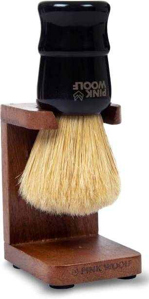 Pink Woolf Boar  and  Stand for Bathroom – Honey Finish. Polished Wood that Resists Rot Shaving Brush