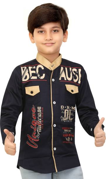 FOREVER YOUNG Boys Printed Party Dark Blue Shirt