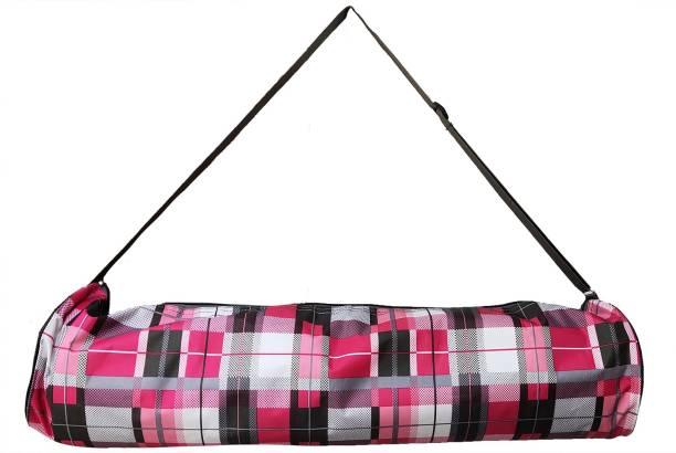 PANCHTATAVA Full Zipper Yoga Mat Bag With Broad Shoulder Strap-Check Pink